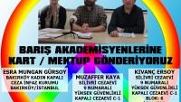 TUTUKLU BARIŞ AKADEMİSYENLERİNE MEKTUP / KART GÖNDERİYORUZ